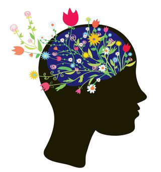 Image shows a drawing of a head with the brain area growing flowers of all kinds. Evolution Wellness is hiring for mental health clinician jobs in Wilmington, NC. Counseling jobs and licensed therapist jobs are available. | 28401 | 28403 | 28405 |