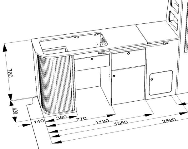 EVO 5F – Curved Kit – Front loading fridge