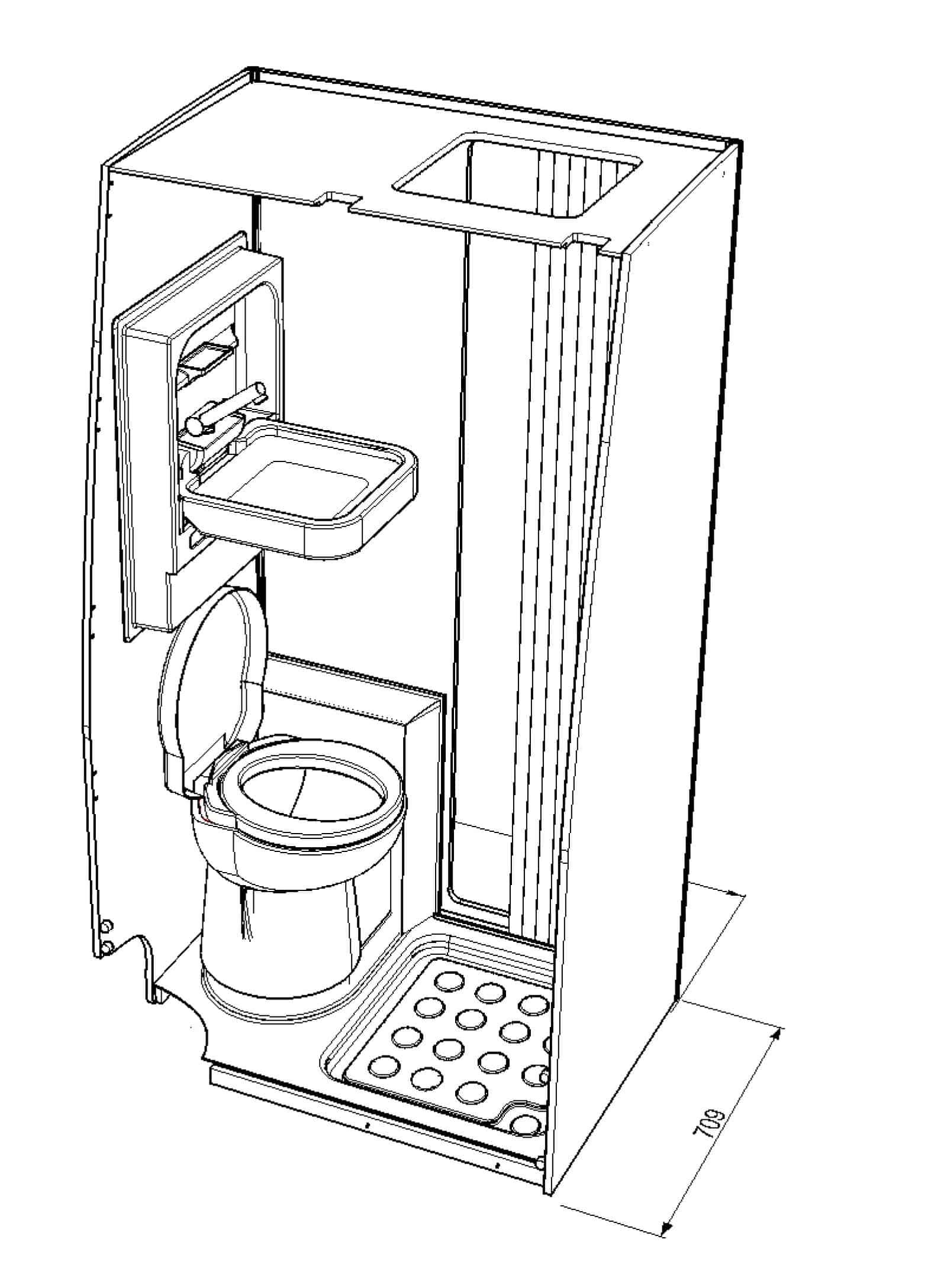 Shower toilet cubicle Crafter 2017 onwards standard & 4