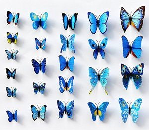 12 x 3D BDM Stickers Papillons Décoration murale Butterfly Wall decor Schmetterling Wanddeko-bleu