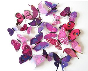 12 x 3D BDM Stickers Papillons Décoration murale Butterfly Wall decor Schmetterling Wanddeko-violet