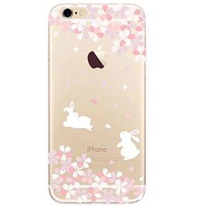 Coque en Gel Silicone TPU pour iphone 7 (4.7) KSHOP Housse/Cas Cover Transparent Antichocs Anti-Rayures Bumper Modif Peint Color – lapin fleur
