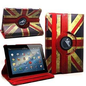 parfait Choix élégant pour Apple iPad 2/iPad 3/iPad 4étui en PU imitation cuir avec support rotatif 360°–Union Jack