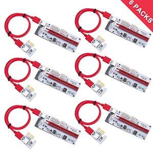LATTCURE PCIE PCI-E Riser 16x à 1x carte adaptateur w/ 60cm par usb 3.0 prolongation cable & 6-pin / 4-pin / sata interface – gpu riser adaptateur – ethereum mining eth (nouvelle version)