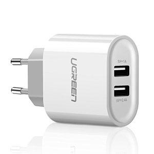 UGREEN USB Chargeur Adaptateur Secteur USB Mural 2 Ports (2.4A + 1A) USB Chargeur Voyage 17W pour Téléphone Tablette iPad iPhone X/ 8 Plus/ 8/ 7 Plus/ 7/ 6 Plus, Autres Android Smartphones (Blanc)