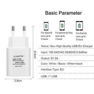 hkfv Fiche européenne adaptateur USB Chargeur 5V 2A murale de téléphones frais pour iPhone/iPad Offre rapide, efficace Charger USB prise de charge taille unique White