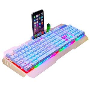 Mingteng Gaming KeyboardColors LED Rétro-Éclairé Filaire Clavier Gamer USB Conception Ergonomique avec Repose-Poignet pour PC Portable (Color : White)