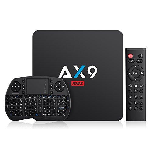 TICTID 2018 4K TV Box Android 7.1【2G + 16G】avec Mini Clavier Touchpad AX9 Max WiFi IEEE 802.11 b/g/n 2.4G Quad-Core 64-bit True 4K Play H.265