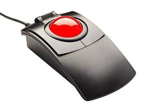 Cst2545–5W (GL) (L-trac Glow Rouge) filaire USB Ambidextre haute performance du Laser ergonomique rétroéclairé 5-Button Trackball (Noir)–Made in the USA