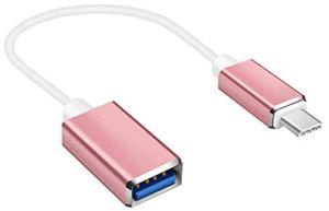 Lucklystar® Adaptateur USB C vers USB 3.0 Câble Connecteur USB C en Aluminium Type C Mâle vers USB 3.0 femelle avec OTG Câble pour MacBook Pro 2016 / 2017, Galaxy S8/S8 Plus, Huawei P9/P10/P10 plus, et autres USB Type C Devices(Rose)1PCS