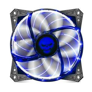 SPIRIT OF GAMER Ventilateur AirFlow 120 mm aérodynamique – LED Bleue/ 9 Pales Transparentes Noires/ 1200 RPM/ Débit d'air de 44 CFM