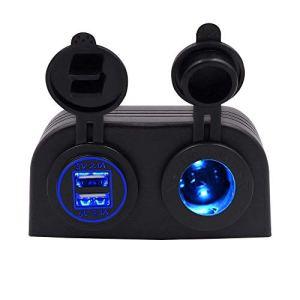 TurnRaise Chargeur USB de Voiture Moto Double 4,2A + 12V/24V Prise Allume Cigare Deux Trou Tente Type Panneau pour Bateau Marine ATV RV
