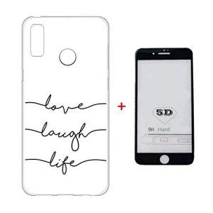 Coque Huawei P20 Étui + 5D Protège Écran en Verre Trempé Lanpangzi TPU Silicone Transparente Résistant aux Rayures Cover – Lettre