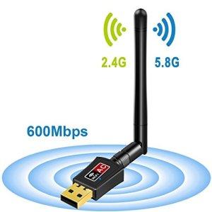 Tinder Clé WiFi Adaptateur/USB Wifi Antenne Compatible Avec Windows Vista/XP/2000/7/8/10, Linux, MAC OS (600Mbps 2dBi) , Mac OS X 10.4-10.11.4 et 10.12.1 ,2,4/5 GHz – Pour Internet à haute vitesse – Compatible avec ordinateur, ordinateur portable
