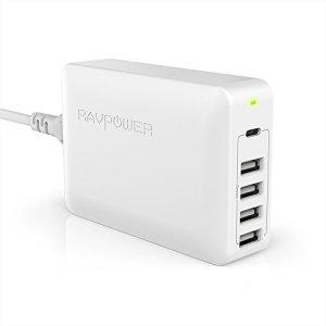 [ USB C&Power Delivery ] Chargeur USB C RAVPower 60W 5 Ports Chargeur Mural avec USB Type-C 45W, 4 Ports USB iSmart 2.0, Chargeur Bureau pour MacBook Air, iPad Pro, Mac Mini et Appareils USB C – Blanc