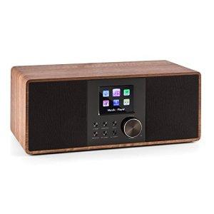 auna Connect 120 WN • Internet • numérique • WiFi • Lecteur réseau • Dab/Dab+/FM RDS • BT • USB MP3 • AUX • arrêt Automatique • TFT Couleur • réglage d'intensité • Heure • Bois • Noisette