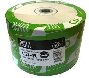 Lot de 50 CD-R 52x Ritek / Arita – Disques pour 700 Mo de données ou 80 minutes de vidéo – Revêtement blanc imprimable au jet d'encre