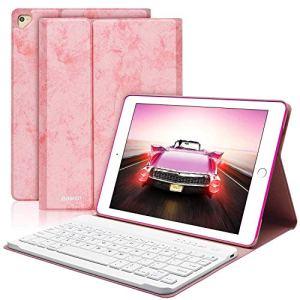 COO Coque Clavier AZERTY Français iPad 9.7 Pouces Bluetooth Clavier Etui Housse Auto Veille&Réveil Rotation 360 degrés pour Nouvel iPad 2018 iPad 2017 iPad Pro 9,7 iPad Air 2/1 (Rose)