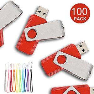 Yaxiny 100pcs USB Diks Clé USB à mémoire flash drive USB 2.0Mémoire disque Pen Drive 16 Go Red
