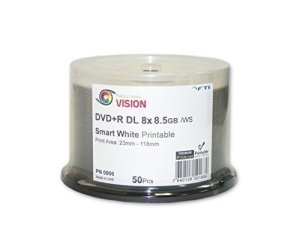 8,5Go vierge DVD + R DL–DVD + R Falcon Vision Smart 2P Blanc Jet d'encre hub Printable 8x 8,5Go 50Disc Cakebox vierges double couche DVD