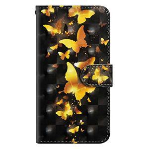DENDICO Coque Galaxy S9 Plus, Housse en Premium pour Samsung Galaxy S9 Plus, Flip Housse Portefeuille Magnétique avec La Fonction Stand – Papillon d'or