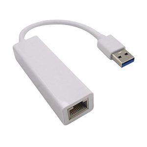 Ogquaton 1 Pcs Adaptateur Ethernet USB 3.0 à RJ45 Plug LAN Adaptateur réseau Filaire pour Nintendo Switch, Wii, Windows 10, etc. (Blanc)