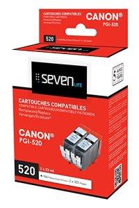 Seven Life Compatible Canon pgi-520 BK Pack de 2 Cartouches