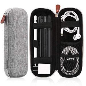AGPTEK Housse Apple Pencil Case Etui Rigide Coque Durable Prime Cuir PU Sac de Protecteur Compatible avec Apple iPad Pro/iPad, Samsung, Huawei, Surface Pro Stylus (intégré Poche Support)- Gris