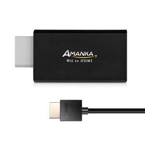AMANKA Adaptateur HDMI Wii Convertisseur, Wii Hdmi Adaptateur Convertisseur vidéo Full HD 1080p Audio Sortie Jack 3,5mm vers Un Câble HDMI Gratuit [Incompatible Mini Wii]