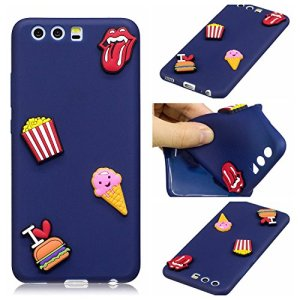 BONROY Coque Huawei P10, Silicone TPU Bumper Case Cover, Ultra Léger Fin Anti-Rayures, Anti-Dérapante, Couverture Protection Etui pour Huawei P10-(Burger Frites)