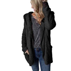 Hiver Manteau Chaud Femme,ELECTRI Sweat à Capuche Élégant Veste Chandail Manches Longues Poche Cardigan Manteau Fausse Fourrure Automne Bubble Velvet Outwear
