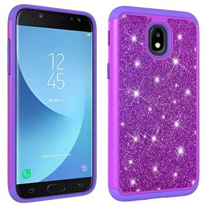 JAWSEU Coque Galaxy J7 2018,Etui Galaxy J7 2018 Silicone Gel TPU Case Glitter Paillette Brillant 2 en 1 Placage Rigide PC Housse de Protection Diamant Strass Case Housse Coque,Violet