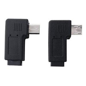 Moligh doll 2Pcs Mini USB à 90 Degrés à Angle Gauche et Droite 5 Broche Male vers Micro-USB Femelle Adaptateur d'alimentation de Synchronisation de Données