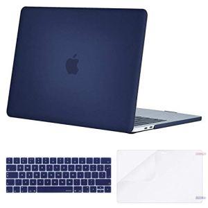 MOSISO Coque Compatible MacBook Pro 13 Pouces A1989 A1706 A1708 2018/2017/2016 avec/sans Touch Bar – Ultra Slim Coque Rigide&EU QWERTY Protection Clavier&Protecteur d'écran, Bleu Marin