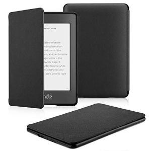 OMOTON Étui Housse Nouvel Kindle Paperwhite 2018 (10ème génération) Coque Protection Léger et Fin, Sommeil/Reveil Automatique, Cover PU Cuir Noir