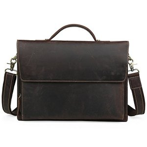 Sumferkyh Sac de Bureau Men Retro Leather Business Bag Serviette Unique épaule fourre-Tout Sac à Main pour 13″ Portable Notebook Tabllet