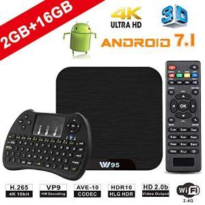 TV Box Android 7.1 – VIDEN W2 Smart TV Box Dernière Amlogic S905X Quad-Core, 2Go RAM & 16Go ROM, 4K UHD H.265, USB, HDMI, WiFi Lecteur Multimédia, Mini Clavier sans Fil [Version améliorée]