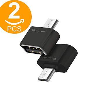 Act Micro USB vers USB OTG Adaptateur USB 2.0 Femelle vers Micro USB 2.0 Mâle 2 pièces (2 x Noir)