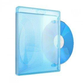 Amaray Boitiers Blu-ray, Slim 11 mm, Machine-pack-quality, Transparent, Bleu, 50 pièces
