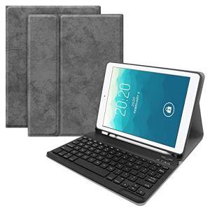 Asiproper Étui de Protection pour Clavier Bluetooth 3.0 sans Fil 2 en 1 Ultra Fin pour iPad Air 1/2 Pro 9.7 Gris