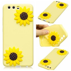 BONROY Coque Huawei P10, Silicone TPU Bumper Case Cover, Ultra Léger Fin Anti-Rayures, Anti-Dérapante, Couverture Protection Etui pour Huawei P10-(Tournesol)