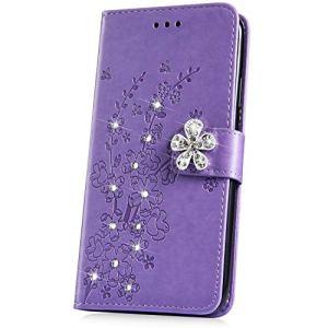 JAWSEU Compatible avec Huawei P30 Portefeuille PU Étui Glitter Paillette Brillant Pochette Cuir à Rabat Housse de Protction Diamant Strass Flip Wallet Case avec Fleur Motif,Violet