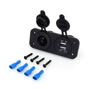 Keenso Prise Allume-cigare 12V Double Chargeur USB et Répartiteur de Prise USB pour Motos Voitures et Camions Universelle