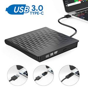 Lecteur CD/DVD Externe, AUCEE USB 3.0 Type C Dual Port Graveur DVD Externe CD Enregistreur Portable RW/ROM Mince ROM Transmission Rapide Câble USB Intégrée Windows 10/8/7/Linux/Laptop/Desktop/PC