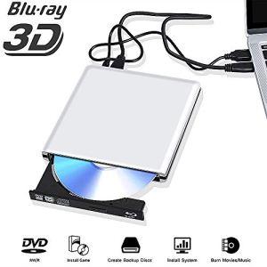 Lecteur Externe Graveur DVD Blu Ray USB 3.0 Bluray 3D 4k, Portable CD DVD Player pour Mac OS, Windows 7 8 10, PC, iMac