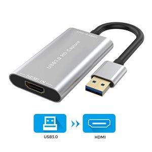 Raycue Video Capture, Carte de Capture de Jeu USB 3.0 HDMI, Full HD 1080p 60FPS Vidéo à Live Streaming Recorder Device, sans Lecteur Compatible avec Linux/Mac OS/Windows 10/7 / XP (Gris)