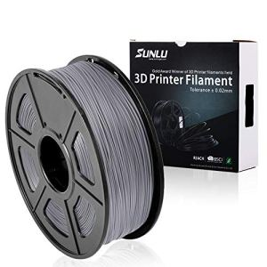 SUNLU 3D Printer Filament PLA Plus Grey,PLA Plus Filament 1.75 mm, Low Odor Dimensional Accuracy +/- 0.02 mm 3D Printing Filament,2.2 LBS (1KG) Spool 3D Printer Filament,Grey
