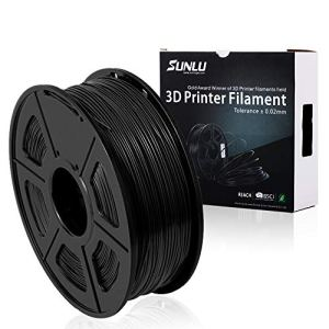 SUNLU PETG 3D filament 1.75mm 1KG(2.2lb), PETG 3D Printer Filament, Dimensional Accuracy +/- 0.02 mm, 1 kg Spool, 1.75 mm, Black PETG