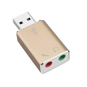yanbird Adaptateur de Carte Son Audio 3D en Aluminium USB 2.0 pour Casque PC Doré