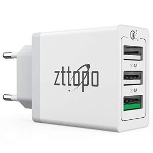 Zttopo Chargeur Secteur USB 3 Ports 30W Quick Charge 3.0 Chargeur Mural Adaptateur Universel QC 3.0 pour Apple iOS Android Portable Tablette